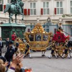 Golden Coach with King Willem-Alexander and Queen Màxima arriving at Noordeinde Palace at Prinsjesdag; The Hague, Netherlands